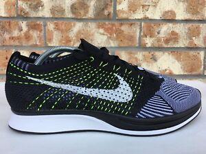 11842885c2396 Men s Nike Flyknit Racer Black White Volt Running Shoes Size 7-7.5 ...