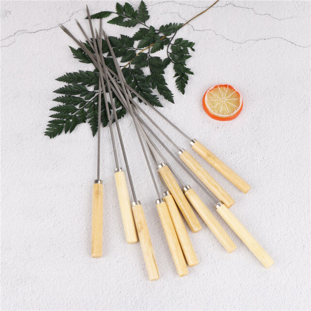 10Pcs Stainless Steel 35Cm Barbecue Skewers Needle Kebab Kabob Stic RS