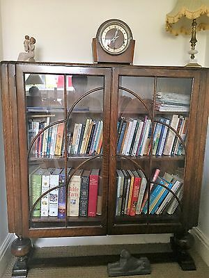 Display Cabinet mid 20th century dark wood with glass doors & key, vintage/retro