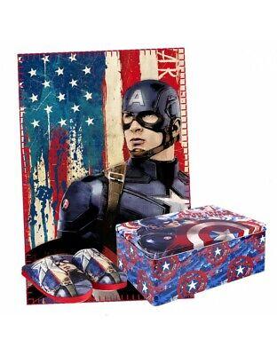 Ingegnoso Capitán América Set Caja Metálica: Pantuflas Y Manta