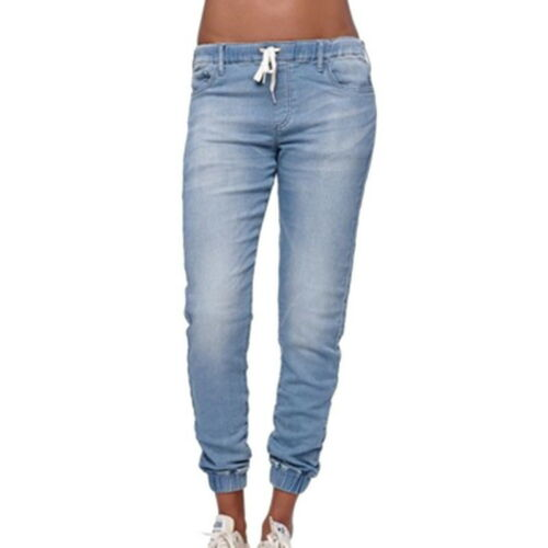 Damen Jeans Chinoshose Locker Sport Hose Denim Blau Lang Hose Drawstring Retro