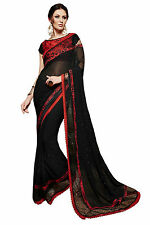Designer Georgette Saree with Diamond Stone Work Party Wear Sari Designer Blouse