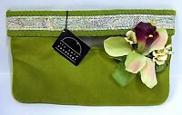 Liz Soto Handbags Green Cloth Purse Clutch With Strap Square Beading Flower