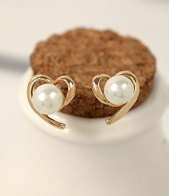 New jewelry Fashion double pearl earings Korean Golden style