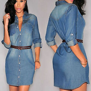 Womens-Denim-Shirts-Dress-Roll-up-Long-Sleeve-Belted-Jeans-Slim-Fit-Mini-Dresses