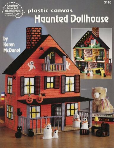 Haunted Dollhouse Plastic Canvas Black Cats Ghost Family Furniture Pumpkins RARE