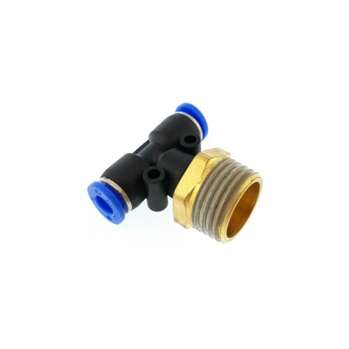 Male stud push in Tee T piece pneumatic fittings BSP thread air water hose tube