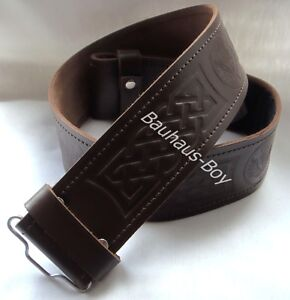 KILT-BELT-BROWN-LEATHER-SCOTTISH-THISTLE-EMBOSSED-size-MEDIUM-34-38-FOR-KILTS