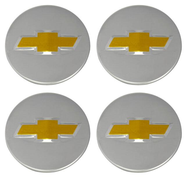 4 Genuine OEM Factory Center Caps Chevy Bow Tie Emblem Logo Chrome Finish 2 1/4