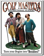 3 Stooges Golf Masters Academy Bogies Metal Sign Tin New Vintage Style USA #696