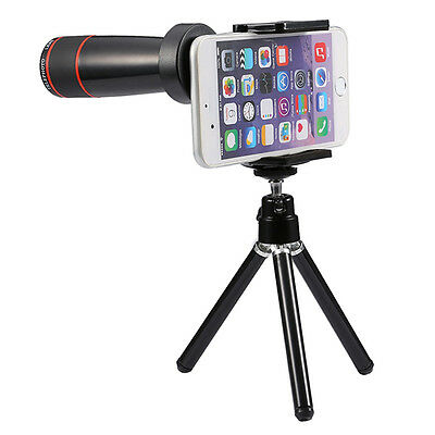 12x Optical Zoom Universal Smartphone Telescope Lens Kit with Mini Tripod Black