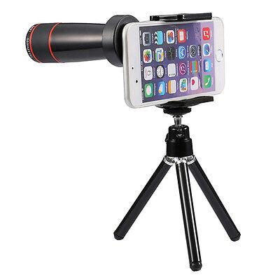 12x Optical Zoom Universal Smartphone Telescope Lens Kit with Mini Tripod Black