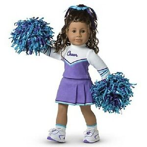 new american girl doll purple cheerleader outfit set pom poms doll