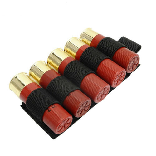 Tactical 12GA Shotgun Bullet Pouch Molle Mag Carrier 5 Shells Cartridge Holder