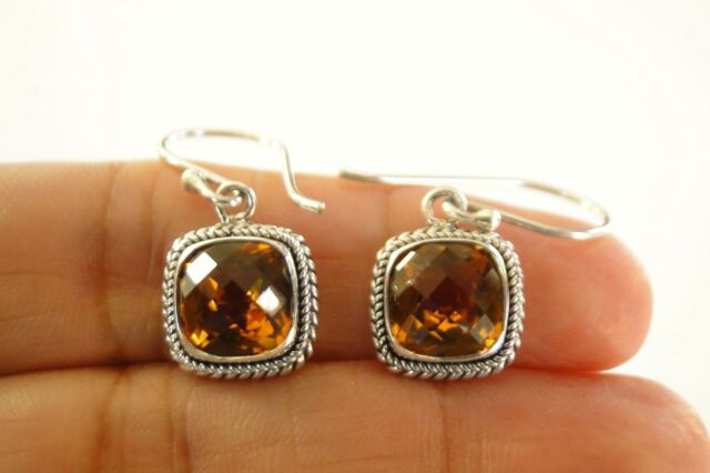 Cushion Cut Golden Yellow Citrine 925 Sterling Silver Dangle Drop Earrings