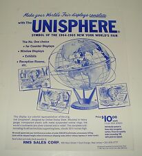 ORIG 1964-65 NEW YORK WORLDS FAIR - NYWF UNISPHERE DISPLAY - SALES FLYER