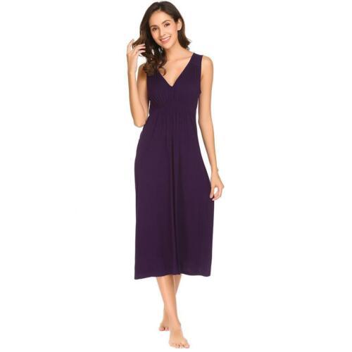 Women V Neck Sleeveless Ruffles Ruched Waist Sleep-dress Nightgown with RLWH