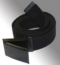 "NEW FLIP TOP ADJUSTABLE 56"" INCH MILITARY WEB CANVAS BLACK GOLF BELT BUCKLE"