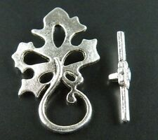 30sets Nice Leaves Tibetan Silver Toggle Clasps 31x20x2mm 1523