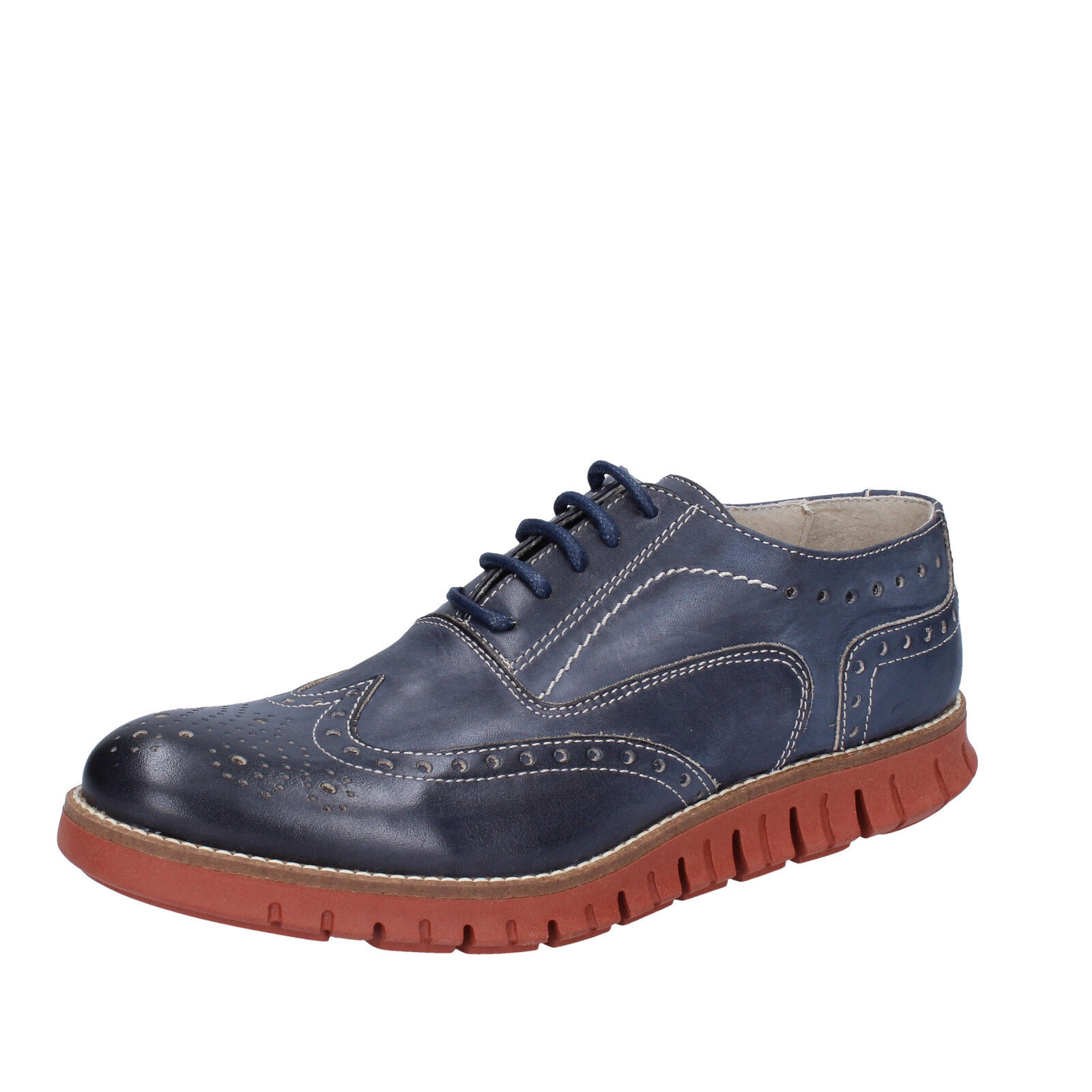 Mens shoes OSSIANI 8 (EU 42) elegant bluee leather BT857-42
