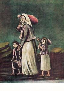 1971-Russian-postcard-WOMAN-CHILDREN-GOING-TO-FETCH-WATER-by-Niko-Pirosmani