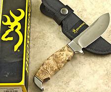 BROWNING Burl Wood Fixed Blade SKINNER Knife 526 Sheath Skinning Finger Groove