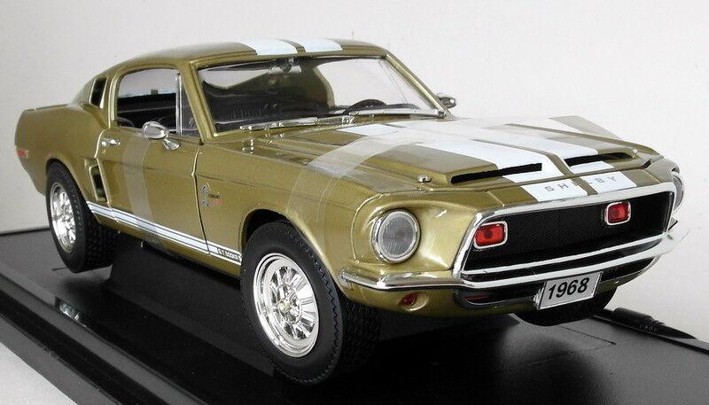 Carretera firma 1 18 escala 92168 1968 Shelby GT-500 Coche Modelo Diecast oro KR alcanzado