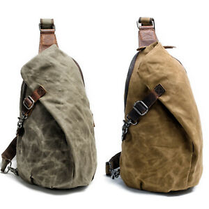Waxed-Canvas-Sling-Bag-One-Strap-Backpack-Rucksack-Chest-Pack-Single-Strap