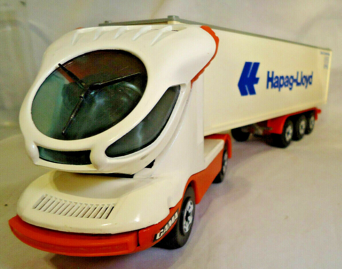 GAMA Hapag-Lloyd DIE CAST fururistic Conteneur Camion Made in W. Germany 14  Long