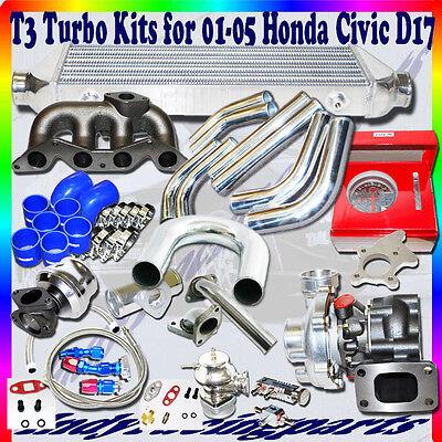 T3 Turbo Kits+Manifold+DIY Piping for 01-05 Honda Civic D17 1.7L ONLY .48 A/R