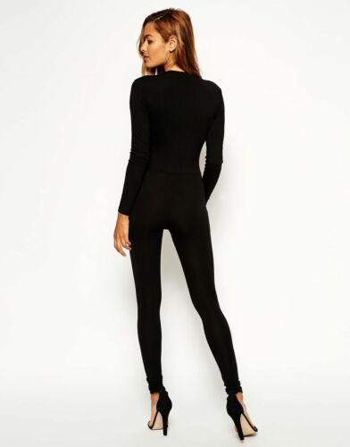 Plunge Long Catsuit Jumpsuit Unitard Deep Sleeve Style Celebrity Leotard Black nxwUHqgPt