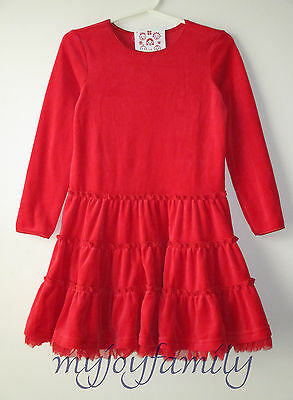 HANNA ANDERSSON Velour Tutu Tiered Love Twirl Dress Apple Red 130 8 NWT