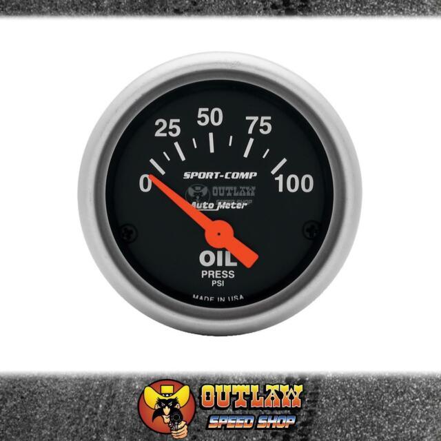 "AUTOMETER OIL PRESSURE GAUGE SPORT COMP 2-1/16"" ELECTRIC 0-100 PSI - AU3327"