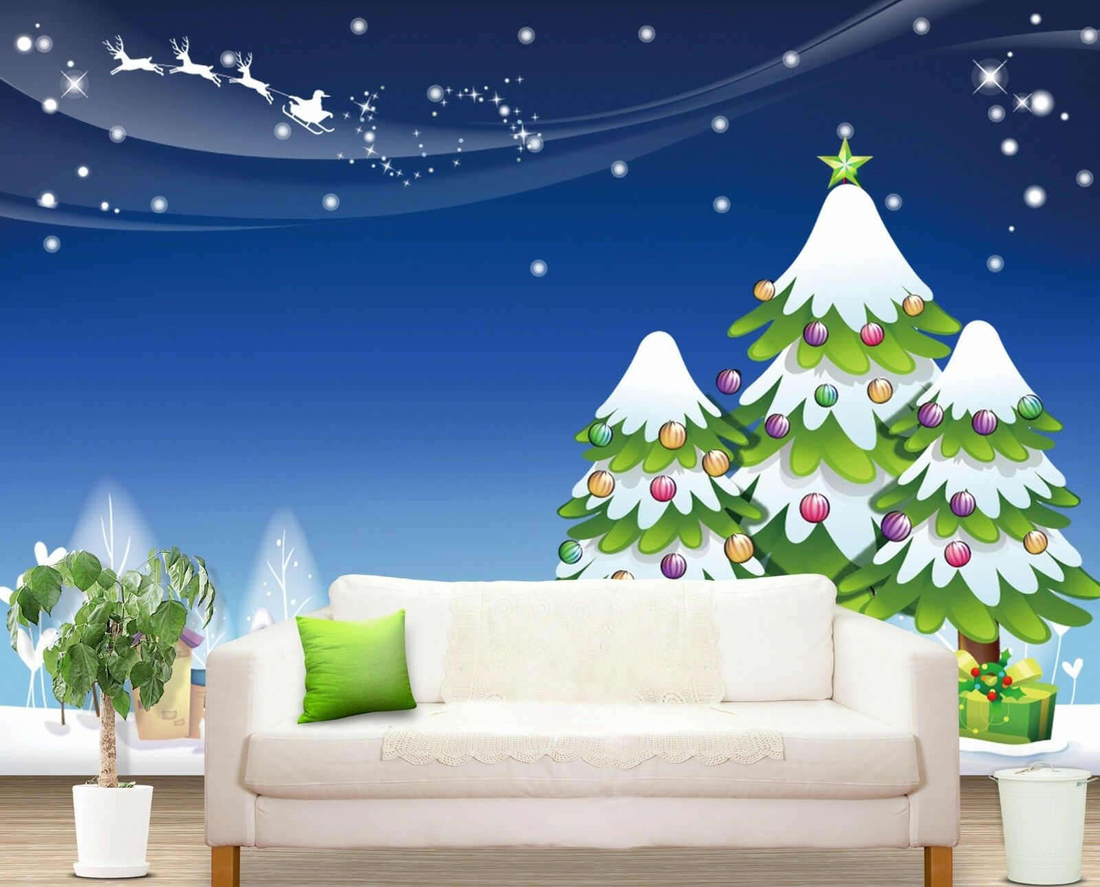 3D Christmas tree stars Wall Paper Print Decal Wall Deco Wall Indoor Murals