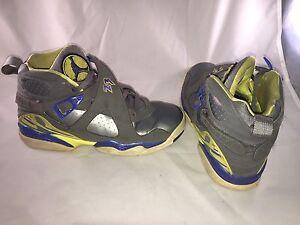 8aecb759866 Nike Air Jordan VIII 8 Retro GS Boys 6.5y Grey Laney Yellow Blue ...