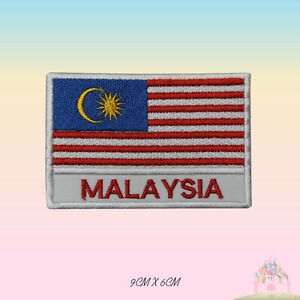 Malaysia National Flag With Name Embroidered Iron On Patch Sew On Badge Applique