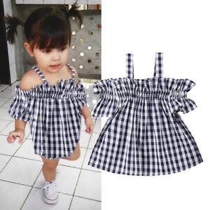5c070a73d1fdd Details about Toddler Kids Baby Girl Summer Off The Shoulder Tops Tutu  Dress Sundress Outfit