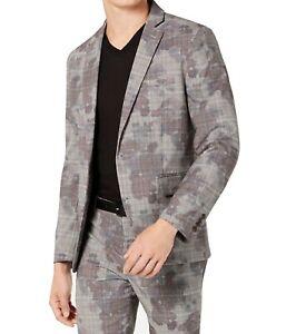 INC Mens Suit Seperates Gray Size 2XL Blazer Plaid Camouflage Slim $129 574