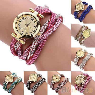 Womens Luxury Crystal Band Knitted Bracelet Dial Quartz Analog Wrist Watch