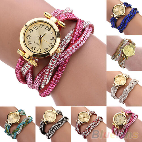 Womens Sparkling Crystal Band Wave Bracelet Dial Quartz Analog Wrap Wrist Watch