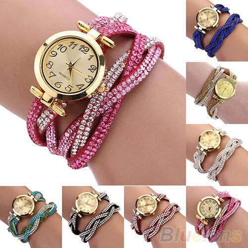 Womens Sparkling Crystal Band Wave Bracelet Dial Quartz Analog Wrap Wrist Watch