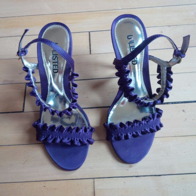 Kenneth Cole Purple Fabric Heels Ruffled Stilettos Shoes Sz 6 GORGEOUS! Unlisted