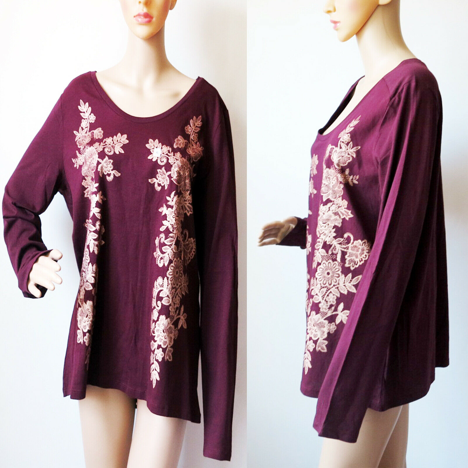 Ann Taylor LOFT Wine Red Metallic gold Floral Top Long Sleeve Shirt XLarge NWT