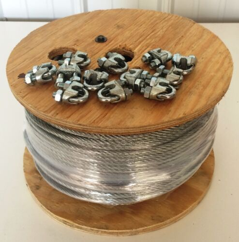"""Aircraft Steel Cable Wire Rope 500/' 5//16/"""" 7x19 Galvanized Cable w// Cable Clamps"""