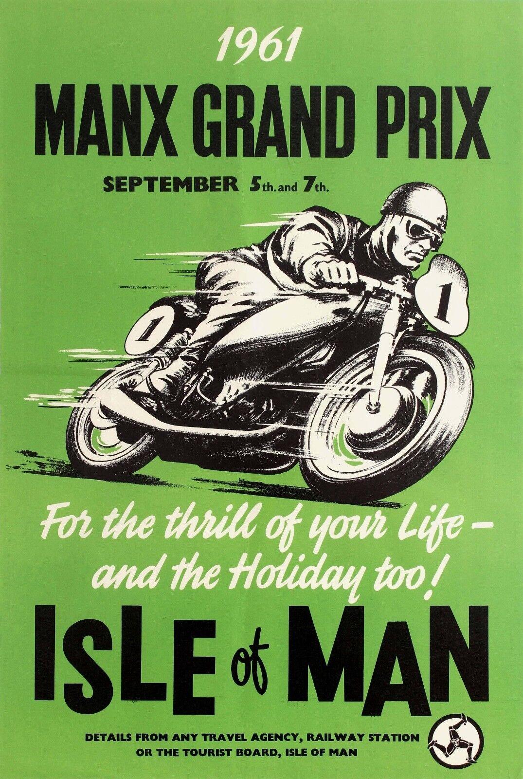 MANX GRAND PRIX (TT) 1961 Vintage Moto Toile/Photo/Art Poster Toile/Photo/Art Moto Imprimé b5e2b2