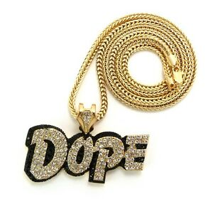 dope earrings dope pendant charm 36 quot framco chain necklace mens 5682