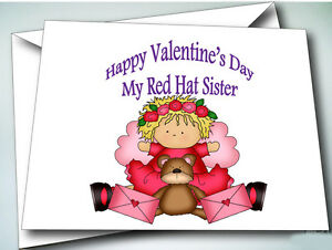 6 happy valentines day sister cards w envelopes for red hat ladies image is loading 6 happy valentine 039 s day sister cards m4hsunfo