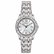 Citizen Eco-Drive Women's Diamond Silver Tone Bracelet 26mm Watch EW2360-51A