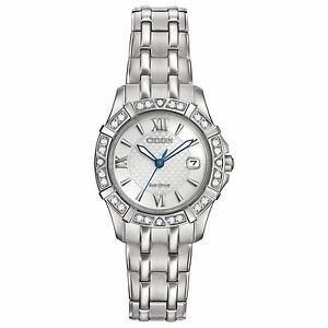 Citizen-Eco-Drive-Women-039-s-Diamond-Silver-Tone-Bracelet-26mm-Watch-EW2360-51A