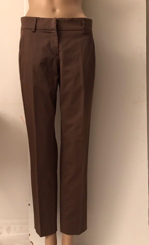 NWT Brunello Cucinelli Gunex Stretch Cotton Brown Pants Sz 40 US S
